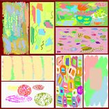 A set of eight creative universal abstract greeting cards in green and blue and yellow and pink and brown tones. Collection of eight abstract writing textures vector illustration