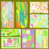 A set of eight creative universal abstract greeting cards in green and blue and yellow and pink and brown tones. Royalty Free Stock Photos