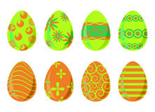 Set of eight easter eggs Royalty Free Stock Image