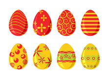 Set of eight easter eggs Stock Photography