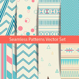Set of eight ethnic seamless patterns. Tribal geometric backgrounds. Modern abstract wallpaper. Vector illustration. Stock Photography