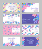 Set of eight floral business cards Royalty Free Stock Images