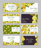 Set of eight floral business cards Royalty Free Stock Photo