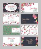 Set of eight floral visit cards Stock Photography