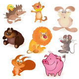 Set of eight funny animals. Big set of eight funny animals royalty free illustration