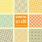 Set of eight geometric patterns. Collection of different abstract patterns, number 30. Simple retro colors  colors - easy to recolor. Seamless vector Royalty Free Stock Images