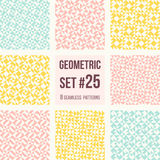 Set of eight geometric patterns. Collection of different abstract patterns, number 25. Simple retro colors  colors - easy to recolor. Seamless vector Royalty Free Stock Images