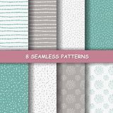 Seamless hand drawn patterns. Set of eight hand drawn graphic patterns. Cute sketched backgrounds. Seamless doodle texture. Made in vector Stock Illustration