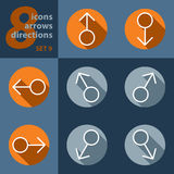 Set of eight icons with arrows in all directions Stock Photography