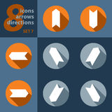 Set of eight icons with arrows in all eight directions Royalty Free Stock Image