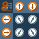 Set of eight icons - with arrows Royalty Free Stock Image
