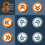 Set of eight icons with arrows Royalty Free Stock Images