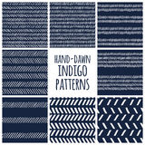 Set of eight indigo blue and white seamless hand Stock Images