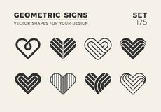 Set of eight minimalistic trendy shapes. Stylish vector logo emb. Lems for Your design. Simple creative geometric signs collection Stock Photo