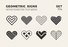 Set of eight minimalistic trendy shapes. Stylish vector logo emb. Lems for Your design. Simple creative geometric signs collection royalty free illustration