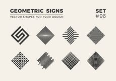 Set of eight minimalistic trendy shapes. Stylish vector logo emblems for Your design. Simple geometric signs collection. Set of eight minimalistic trendy shapes vector illustration