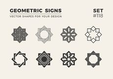 Set of eight minimalistic trendy shapes. Stylish vector logo emblems for Your design. Simple geometric signs collection. Set of eight minimalistic trendy shapes royalty free illustration