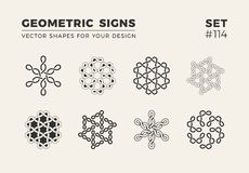 Set of eight minimalistic trendy shapes. Stylish vector logo emblems for Your design. Simple geometric signs collection. Set of eight minimalistic trendy shapes stock illustration