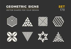Set of eight minimalistic trendy shapes. Stylish vector logo emblems for Your design. Simple geometric signs collection. stock illustration
