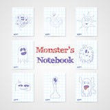 Set of eight notebook sheets with funny monsters Royalty Free Stock Image