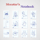 Set of eight notebook sheets with funny monsters. Stock Photography