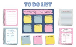 Set of eight planners `To-Do List` for organizing a day Stock Image
