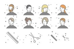 A set of eight portraits of men and women with different hairstyles in a beauty salon. Scissors icon. stock illustration