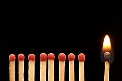 Set of eight red and one burning wooden matches. Isolated on black background Royalty Free Stock Images
