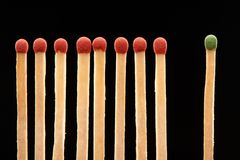 Set of eight red and one green wooden matches Royalty Free Stock Photo