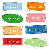 Set of eight sale vector bannes  with colorful design elements. Royalty Free Stock Photography