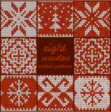 Set of Eight Seamless Knitted Patterns Royalty Free Stock Photography