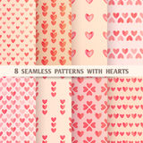 Set of Eight Seamless Patterns with Hearts. Vector illustration, eps10. Set of Eight Seamless Patterns with Hearts. Vector illustration Stock Images