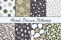 Set of eight seamless textures. Patterns with spheres, round and oval elements and spots. Abstract forms drawn a wide pen and ink. Backgrounds in white, green stock illustration