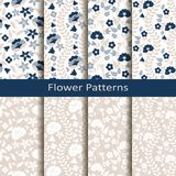 Set of eight seamless vector flower hand drawn patterns. design for covers, textile, packaging. Set of eight seamless vector flower hand drawn cute patterns Royalty Free Stock Photos