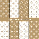 Set with eight seamless vector japanese floral geometric paterns. design for textile, packaging, covers Stock Photos