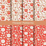 Set of eight seamless vector patterns with hand drawn flowers. design or packaging, fashion, textile, covers. Set of eight seamless vector red patterns with hand royalty free illustration