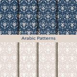 Set of eight seamless vector royal patterns with arabesques. design for packaging, textile, interior. Set of eight seamless vector royal arabic patterns with vector illustration