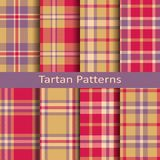 Set of eight seamless vector tartan square patterns. design for textile, covers, packaging, christmas Royalty Free Stock Images