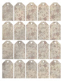 Set of eight shabby chic grungy floral tags royalty free illustration