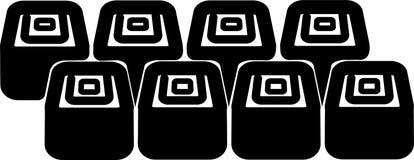 Set of eight sushi icons stock illustration