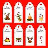 Set of eight vector holiday Christmas labels. Stickers Royalty Free Stock Image