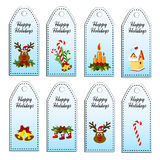 Set of eight vector holiday Christmas tags. Happy Holidays. Royalty Free Stock Photos