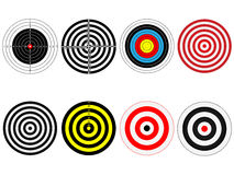 Set of eight vector targets Stock Images