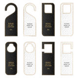 Set of eight VIP leather tag on the door with gold thread. Royalty Free Stock Photography