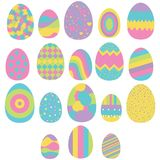 Set of eighteen easter eggs isolated on white Stock Photography