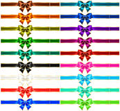 Set of eighteen holiday bows with gold edging and. Vector illustration - collection of eighteen holiday bows with gold edging and ribbons. EPS 10, RGB. Created Royalty Free Stock Image