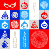 Set of eighteen objects on a Christmas theme stock illustration