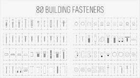 Set of eighty construction fasteners. Set of screws, bolts, anchors, fasteners etc stock illustration