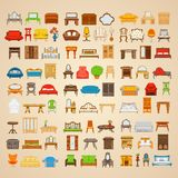 Set of eighty six illustrations furniture for home Stock Photo