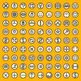 Set of Eighty Vector Minimalistic Line Art Abstract Geometric Black and White Round Icons Royalty Free Stock Images